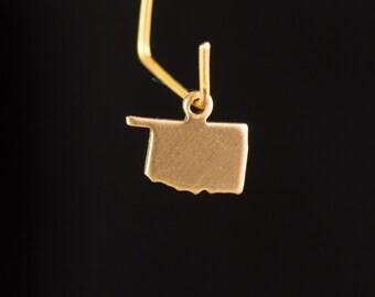 Raw Brass Tiny Oklahoma Blank State Charm Drops (6) chr228X
