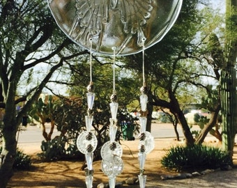 SALE SALE SALE Butterfly Windchime Iridescent Clear Glass