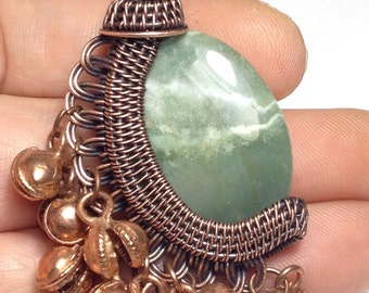 Jingly woven wire wrapped Fancy Jasper bead on a leather necklace