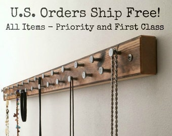 Rustic Wooden Jewelry Rack, Jewelry Display Bar with Decorative Metal Pegs