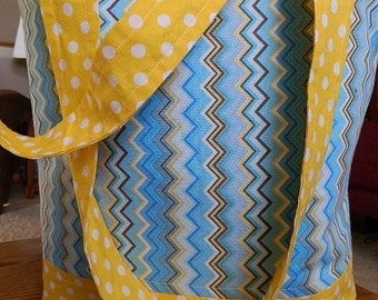 diaper/activity bag, blue and yellow chevron