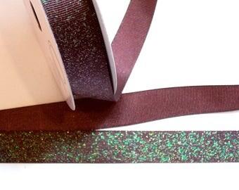 Brown Ribbon,  Brown Glitter Grosgrain Ribbon 7/8 inch wide x 25 yards, Offray Glitter Grosgrain Ribbon