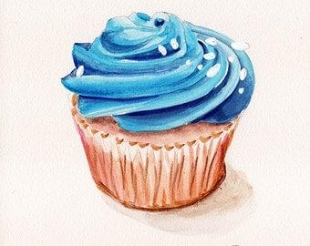 Fine art Print from original watercolor by Redstreake, cupcake baking dessert kitchen  2 sizes