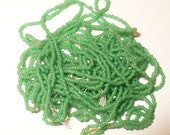 Antique 20-22/0 Seed Beads - Jade Green Glass