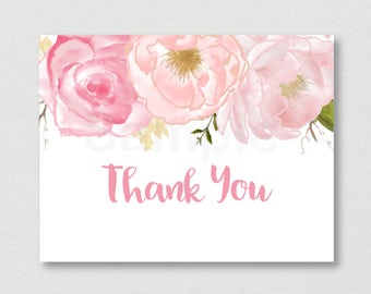 Soft Pink Floral Baby Shower Thank You Card / Floral Baby Shower / Watercolor Floral / Folded Card / PRINTABLE / Instant Download A170