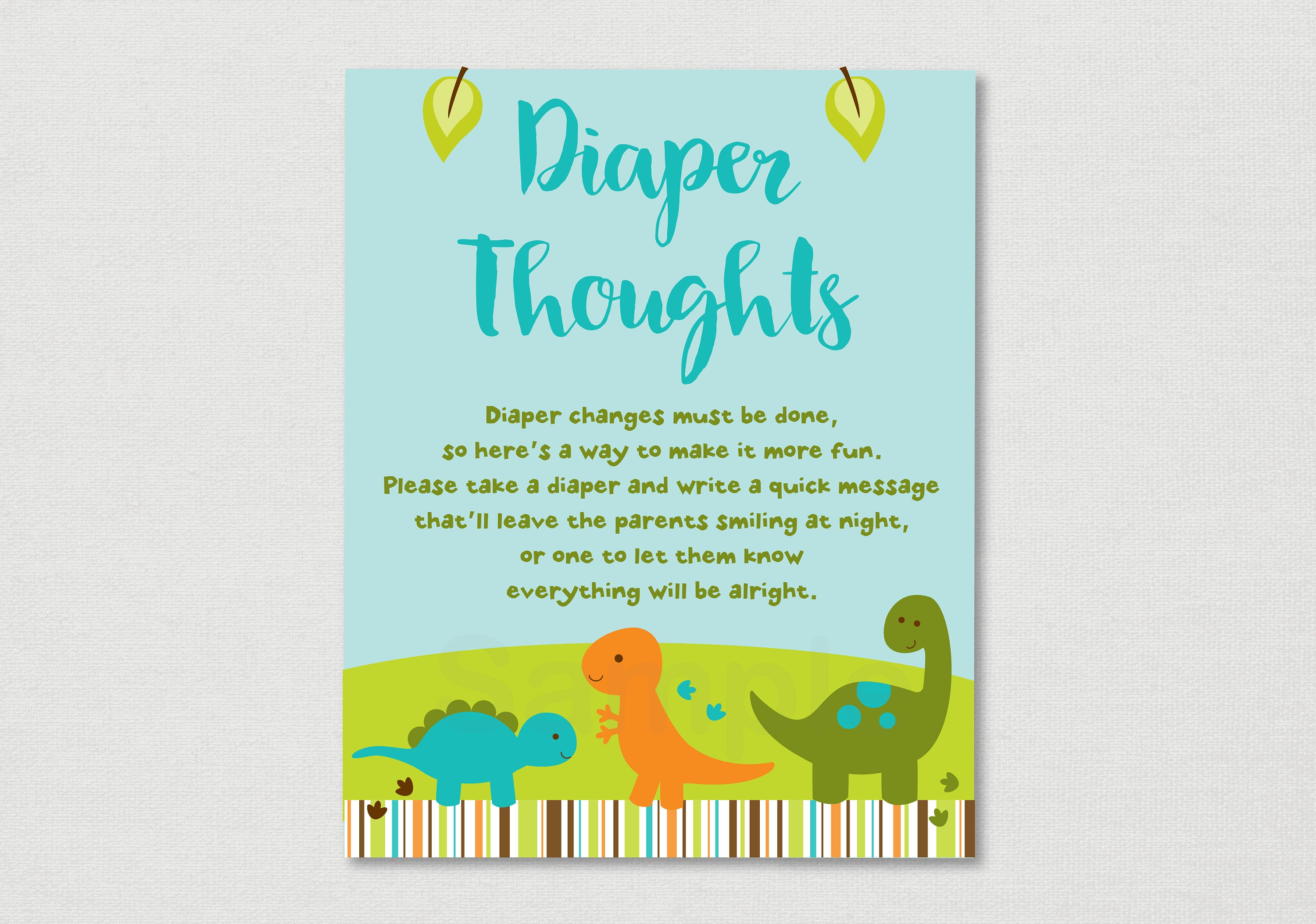 Cute Dinosaur Diaper Thoughts Game Dinosaur Baby Shower