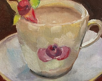 """Painting 5x5""""  Time for Tea Coffee Stilllife Foodie Rose Oil Painting Still Life Original"""