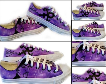 Prince, Purple Rain, Tribute, Prince Tribute, Pop Rock, Rock and Roll, Musician, Artist, Painted Shoes, Shoes Included
