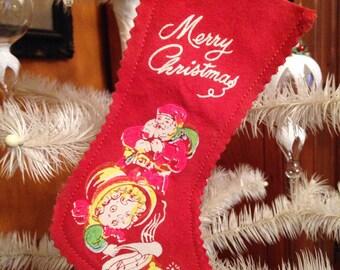 Vintage Merry Christmas Stocking Decoration