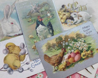 Easter Postcard Lot Bunnies, Chicks, and Hens Vintage Scrappy Shabby Findings