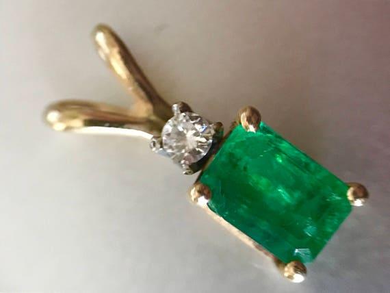 14K Gold Emerald and Diamond Pendant
