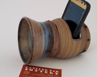 Ceramic Steampunk Analog Cell Phone Amplifier - Wireless Phone Speaker - Acoustic Passive Speaker - IPhone Samsung Smartphone Accessory