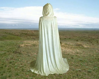 Cloak Cape Ivory Velvet Hooded Medieval Wedding Renaissance Costume