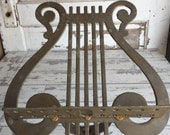 Vintage Brass Music Stand Harp Lyre Scroll - Beautiful Antique Patina