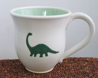 Dinosaur Mug, Large Handmade Pottery Mug, Brontosaurus Stoneware Coffee Cup 14 oz. Science Geek, Nerd Gift