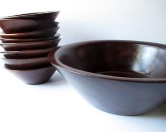 Vintage Mahogany West Indies Salad Serving Bowl and Salad Bowls Set of Nine