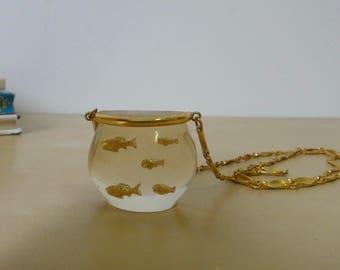 Vintage Castlecliff Lucite Fish Bowl Necklace - Harrice Simmons.