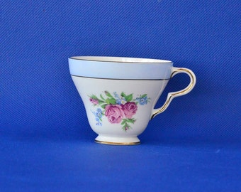 Taylor & Kent Tea Cup - Floral Pattern with Pink Roses - Bone China - Corseted Footed Tea Cup - Pattern 6732B - Longton England