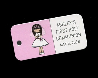 First Communion Favor Tags - Personalized - Girl - Gift Tags - Personalized Favor Tags - Girls Communion Tags - Pink - Brunette