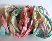 Silk Sari Ribbon, Recycled Pastel Sari Ribbon, 10 Yards