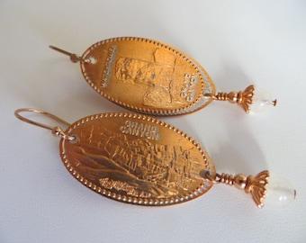 Souvenir Penny Earrings-Copper & Moonstone Earrings-Grand Canyon- Sale Jewelry