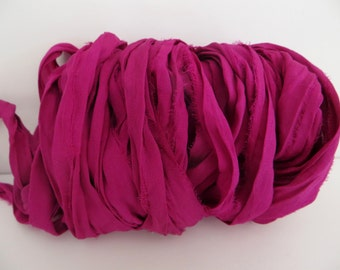 Silk Sari Ribbon, Recycled Purple Berry Sari Ribbon, 10 Yards