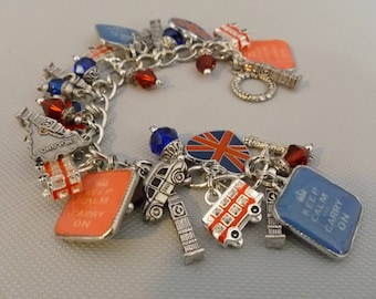 Keep Calm And Carry On London Altered Art Charm Bracelet