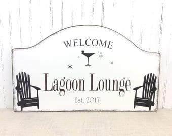 Custom backyard bar sign,  seaside lounge decor, martini lounge sign, Father's day gift, tiki lounge plaque, saloon sign, beach bar sign