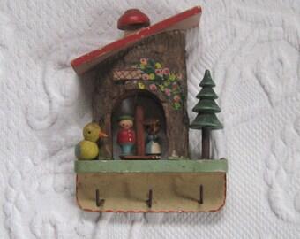 Key hooks . Key Holder . carved wood . forest scene . whimsical hooks . weather indicator .  made in Italy . folk art