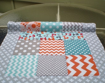 Handmade Baby quilt,  fox baby quilt, baby boy bedding, baby girl quilt, newborn,  woodland, crib, orange, grey, teal, chevron, Foxy Mini