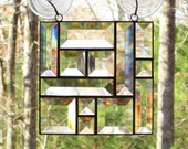 Custom Listing for Laure -  (4) Beveled Glass Suncatcher - Abstract Design with Squares and Rectangles