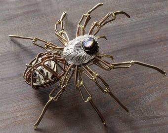 Steampunk Spider Sculpture with Tanzanite Dragon's Breath Glass