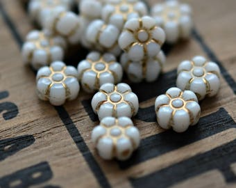 Daisy Chains - Premium Czech Glass Beads, Opaque White, Metallic Gold Inlay, Vintage Inspired Daisies 8x4mm - Pc 15