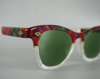 Vintage 1950s Sunglasses Red Plaid Prescription Cateyes by Faithway Small