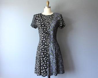 vintage mini 90s dress / multi floral pattern dress / front corset grunge dress / size 7/8