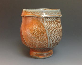 Yunomi. Faceted. Soda Fired Stoneware Pottery. (#ZW1)