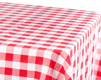 RED BUFFALO CHECKS Tablecloth - Red white Poly-Cotton, wedding, bridal, baby shower, Picnics,  Memorial day, independence day