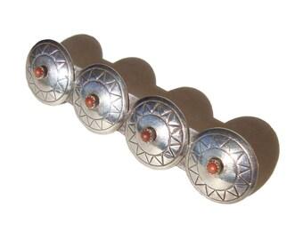 Vintage Navajo Brooch Indian Sterling & Coral Concha Shell Bar Pin