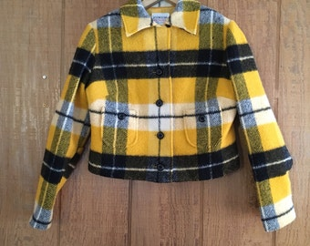 Vintage 60s black & yellow plaid cropped jacket by Junior House S/M