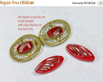 NOW  ON SALE Art Deco 1920's Czech Filigree Oval Belt Clasp With Bright Red & Silver Glass Stones Plus Two Red Glass Buttons (lot 3)