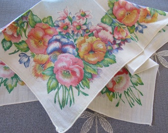 Vintage Printed Linen PANSIES Handkerchief Embroidered Edge Mother's Day Birthday Gift Multi-Colored Springtime Garden