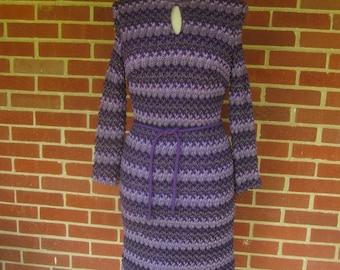 Vintage Purple Popcorn Knit Dress