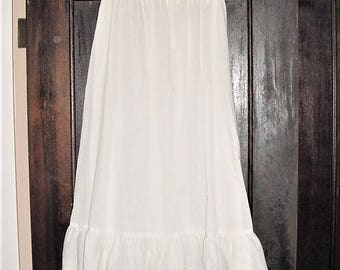 Vintage 80s White Poly Cotton Full Length Eyelet Slip Skirt Small As Is