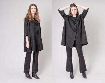 BROCADE black swing JACKET blazer dress vintage women Free Size with Pockets / Better Stay Together