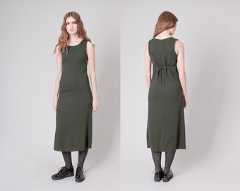 sale MAXI dress SHIFT green Minimal Modern vintage dresses women Small sleeveless / Better Stay Together
