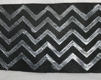 Hand PAINTED Black Cow Hide Leather Piece with Silver CHEVRON