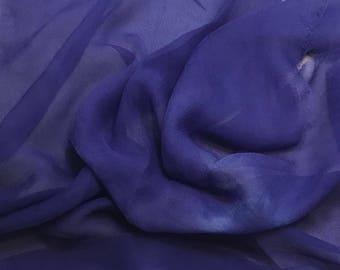 Silk Gauze Chiffon - Hand Dyed Hyacinth - 1/2 Yard