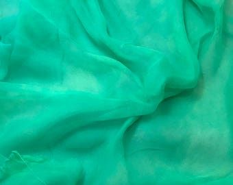 Silk Gauze Chiffon - Hand Dyed Spearmint Green - 1/2 Yard