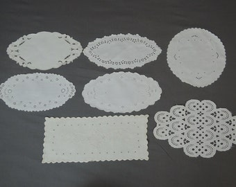 Vintage 7 Linen Doilies Eyelet and Embroidery Linen Decor Lot