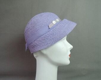 Vintage Lavender Straw Hat, 1950s Spring Easter, 21 inch head, Cloche Style 1960s An Everitt Spunwoven Original